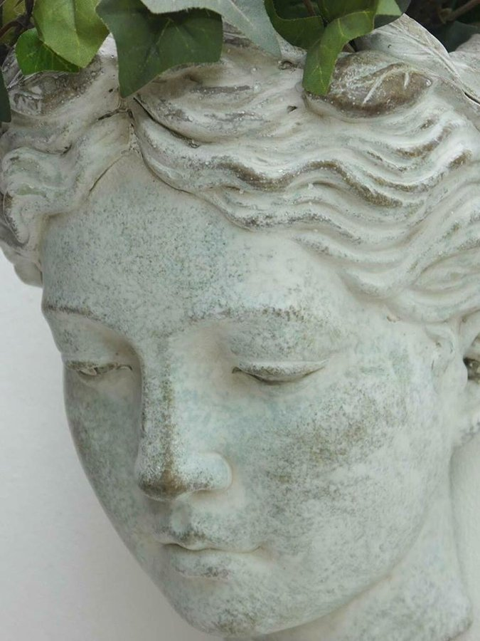 Pflanzbüste Wandbüste Frauenkopf z Bepflanzen ° Keramik creme white