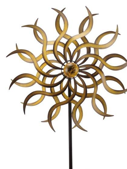 Windrad Gold ArtFerro Solarbeleuchtung Windspiel Gartenstecker Metall Ø53 H187