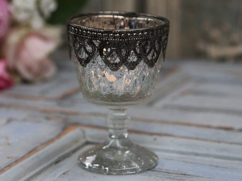 Chic Antique Teelichthalter auf Fuss/Silberdekor Windlicht Kerzenglas