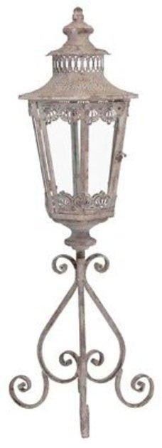 Laterne auf Fuss Windlicht Orient Metall Garten Deko Antik Grau Vintage H 93cm