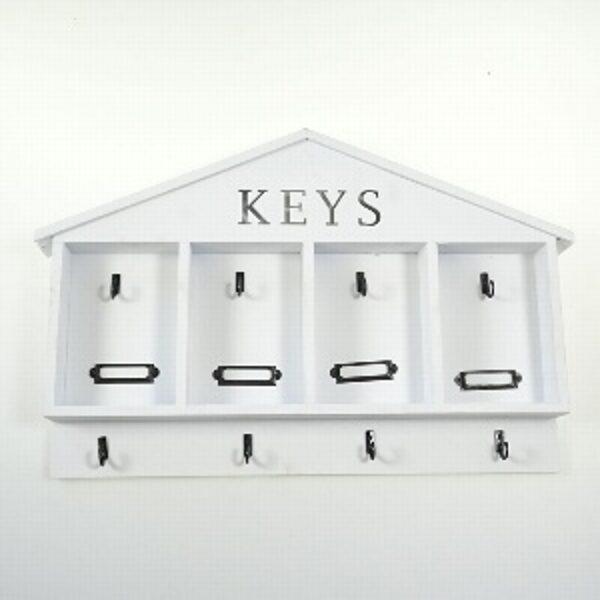 Schlüssel Board Leiste mit 4 Haken Holz weiß Shabby L 46 cm