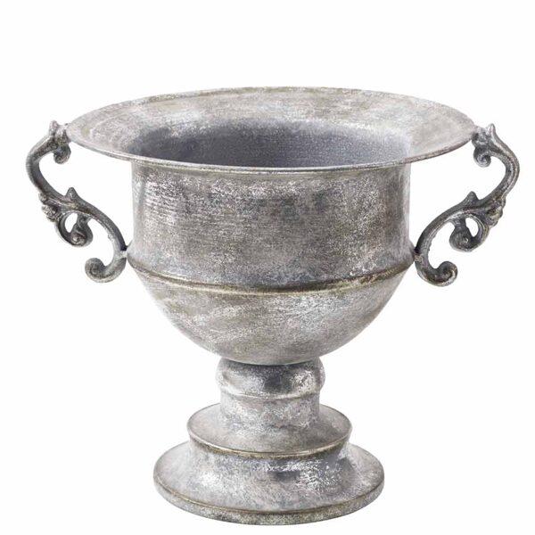 Vase Pokal Amphore auf Fuss Antik Silber Metall D27 - H 21cm