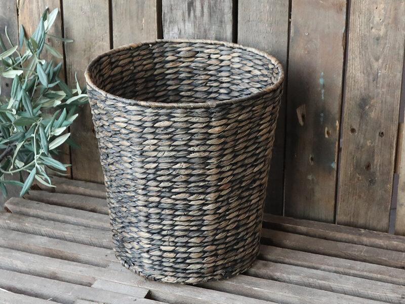 Chic Antique Korb ohne Deckel aus Wasserhyazinthen / Metallrand  H 33cm