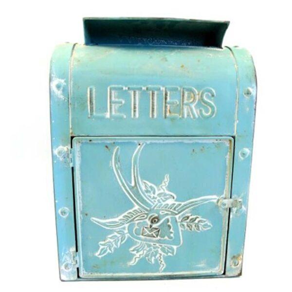 Nostalgischer Briefkasten Metall Antik-Look Shabby Mailbox im Landhaus Shabby Chic Stil, blau-türkis