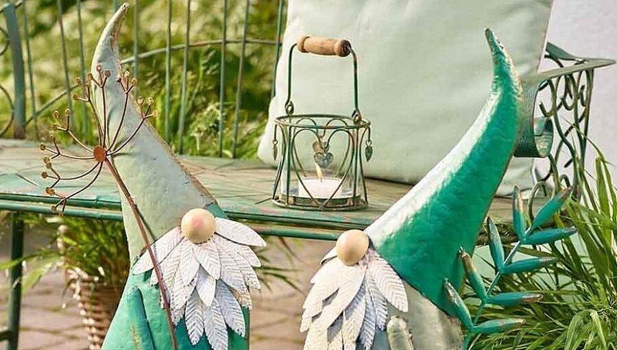 Vintage Metall Windlicht Herzchen mit Glas Grün-Rost Landhaus Boho