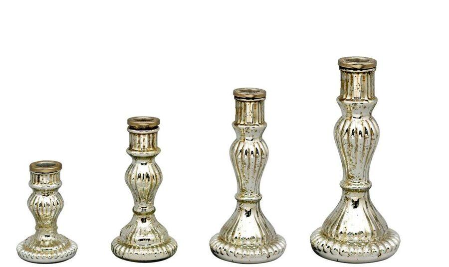 Kerzenständer rund silber Bauernsilber Kerzenleuchter Shabby-Vintage 4 Größen