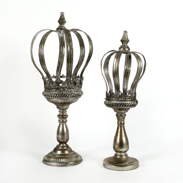 Nostalgische XXL Metall Krone auf Fuß Kerzenständer Kerzenkrone Shabby Chic 2 Größen