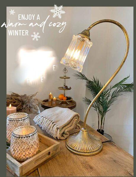 Tischleuchte  Gold Schirm schwarz Tischlampe H 66 cm