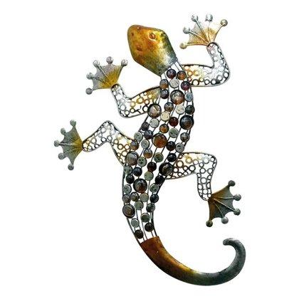 Wandhänger Gecko 62,5 cm Wandschmuck Metall/ Glas Wandtatoo Fassaden Deko