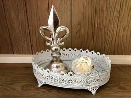 Dekoobjekt Lilie- aus Aluminium - Silber - französische Lilie - Ornament H 23cm