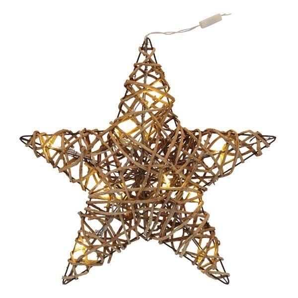 Weihnachts-Stern LED Lampen Rattan-Geflecht Fensterdeko Weihnachten Fensterschmuck beleuchtet 2 Größen
