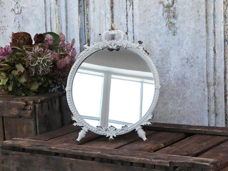 Chic Antique Tisch Spiegel Metall Antik Weiß rund Standspiegel Kosmetikspiegel Brocante