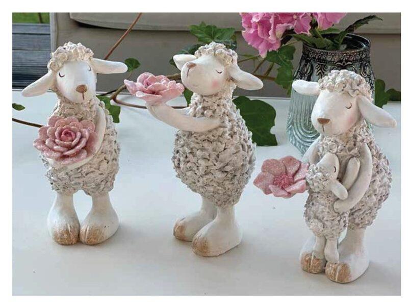 Lustiges Deko-Schafe weiß, Polyresin Osterdekoration 3 Variationen