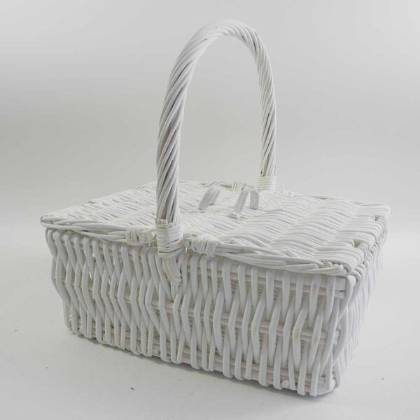 Rattan Picknick Einkaufskorb mit 2 Deckel Familie Picknickkorb weiß mit Griff rechteckig