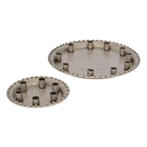 Kerzenhalter mit Tablett, Kerzentablett Silber Kerzenständer Kerzenhalter Kerzenleuchter Tablett 2 Größen