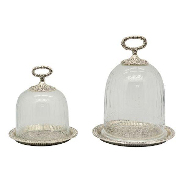 Vintage Metallteller Teller mit Glasglocke D 23 cm Cloche Kuchen Käseglocke