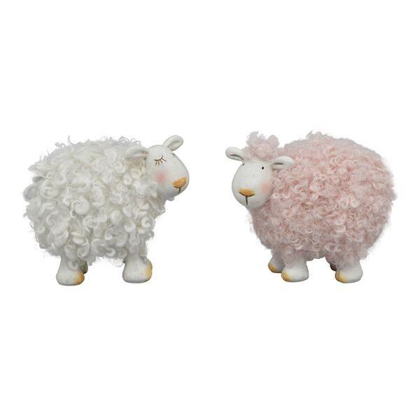 Lustiges Deko-Schaf Paar Sannie mit Wolle pink/weiß, Polyresin Osterdekoration