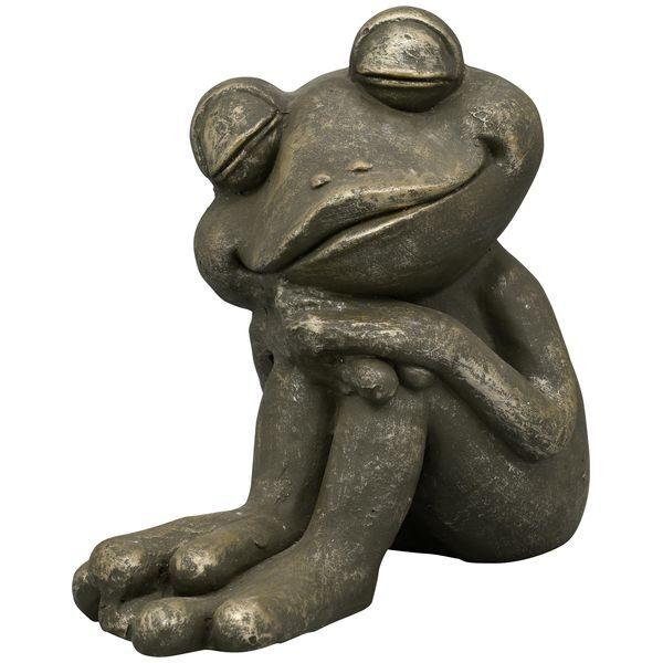 XXL träumender Frosch H 36,5 cm Polyresin Deko Garten Figuren