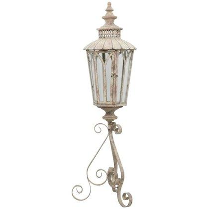 Laterne auf Fuss Windlicht Orient Metall Garten Deko Antik Grau Vintage H 95cm