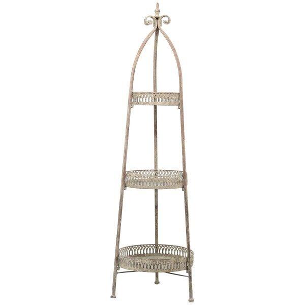 Etagere Landhaus 3 Etagen Metall Kantendekor rund Antik Grau H 116 cm