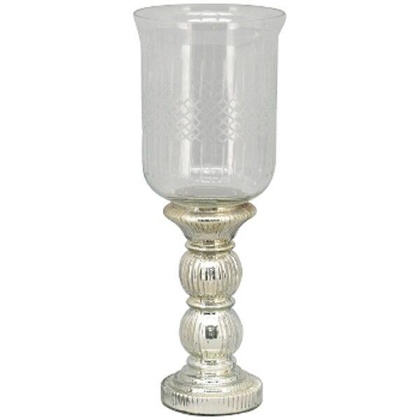 Edles Windlicht Kerzenleuchter mit geschliffenen Glas Kerzenhalter Kerzenständer Silber H 46 cm