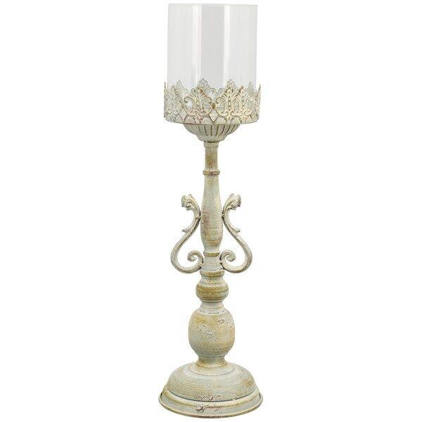 Windlicht Teelichthalter Barock Kerzenhalter Spitzenkante Glas/Metall /Zement Antik Shabby H 46 cm