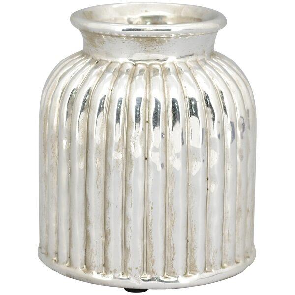 Vase Deko Blumen Tischvase Silber Gefäß Stoneware Dekovase Landhausstil H 20,5 cm