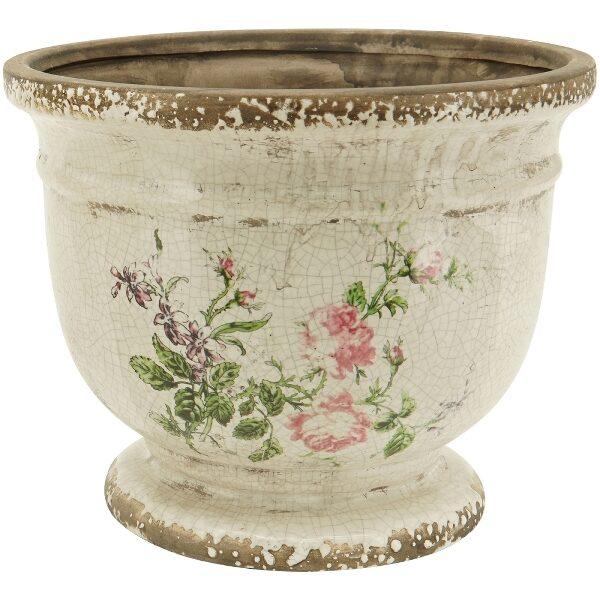 Dekorativer Übertopf m. Rosen Vintage Shabby Vase Pflanztopf 2 Größen