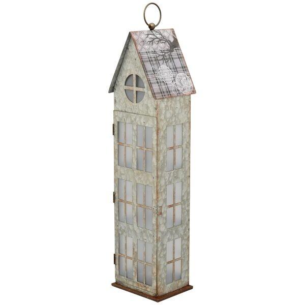XXL Laterne Haus Windlicht Haus Metall  LED Beleuchtung m. Timer H 63 cm Weihnachten Metall