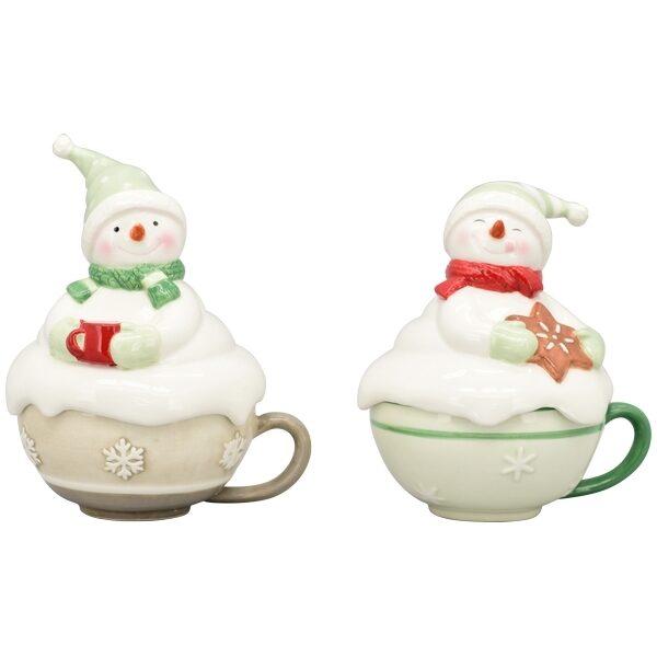Keramik Kaffee Tee Kakao Tasse mit Deckel Snowman Schneemann 2 Varianten