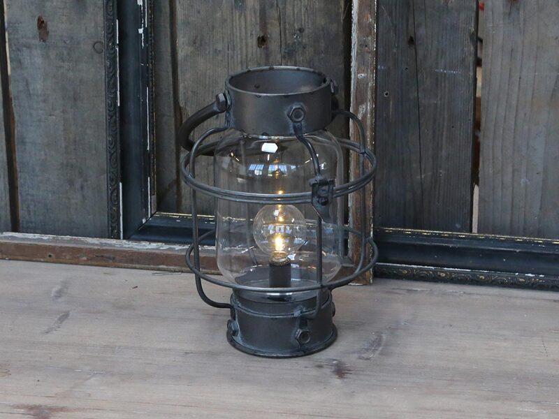 Chic Antique franz.Stall Laterne Windlicht antik Kohle Metall incl. LED Licht H 29cm