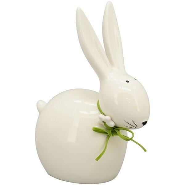 Osterhase Hase Ivory, weiß, Keramik Ostern Deko Figur Hase sitzend mit Schleife