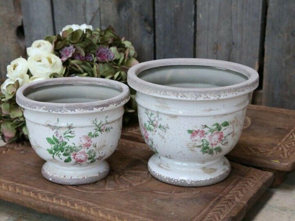 Chic Antique Toulouse Übertopf m. Rosen Vintage Shabby Vase Pflanztopf D 20cm