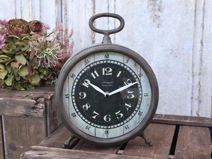 Chic Antique Factory Stand/Tischuhr Kaminuhr Shabby Vintage Metall antik kohle
