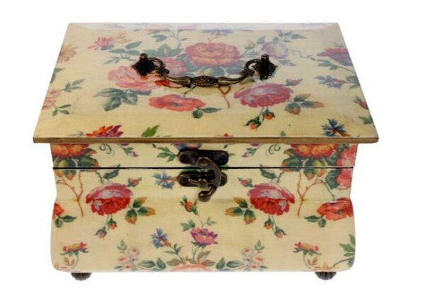 Schmuckkasten Schmuckschatulle Schatulle Truhe vintage eckig Box Schatztruhe Rose Elfenbein