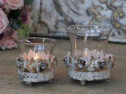Windlicht Teelichthalter m. Rosendekor Chic Antqiue Kerzenglas Metall/ Glas
