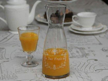 Chic Antique Karaffe Kanne mit Druck Glas Krug Deko Shabby Landhaus H 26 cm
