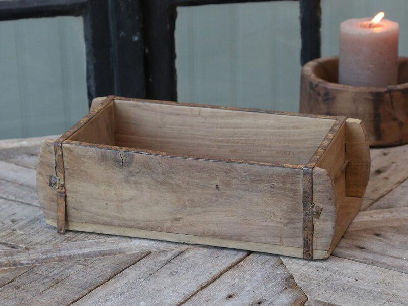 Chic Antique Holzschachtel Ziegelform 1  Fach alte Backsteinform Holz Box Kiste