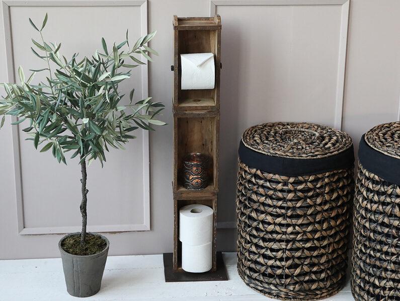 Chic Antique Wand- Toiltettenpapier- Klorollen- Halter Ziegelform Holz H 95 cm