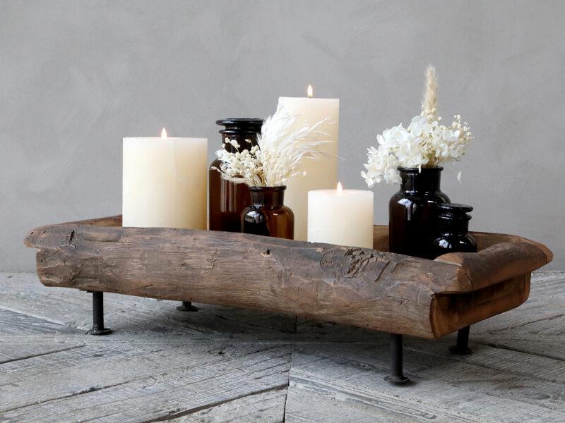 Chic Antique Grimaud Holz Tablett auf Füßen Metall Kerzenboard, Kerzentablett, Dekoschale