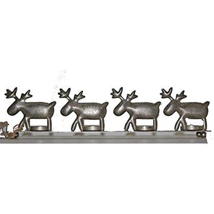 Teelichthalter Elch Antik silber für 4 Teelichter L 39 cm Weihnachten Deko