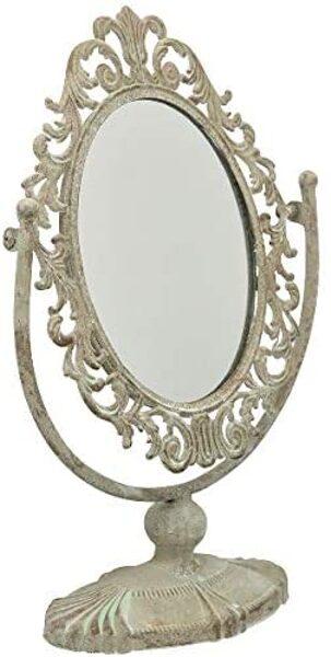 Kippspiegel Metall Antik Grau Standspiegel Kosmetikspiegel Vintage Tisch Spiegel