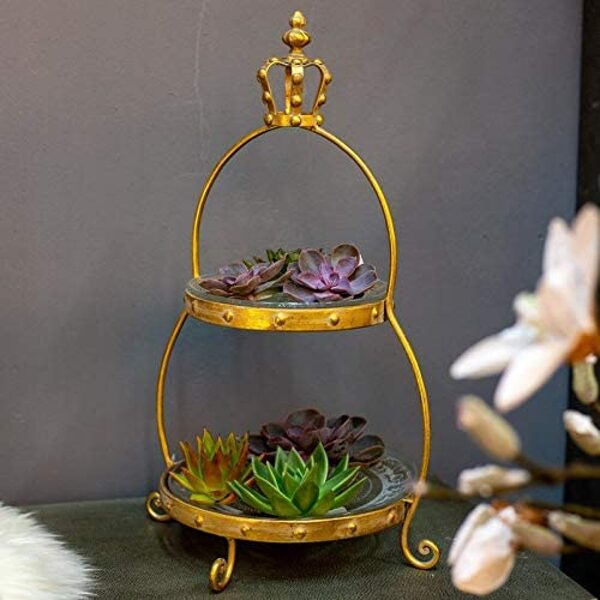 Etagere mit Glastellern Frz. Lilie Reliefmuster 2 Ebenen H 53 cm Gold Metallgestell