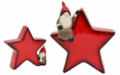 Stern mit Santa Rot Weihnachtsmann Advent Weihnachten Dekofigur Keramik
