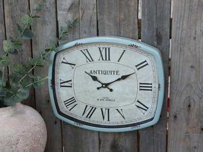 Chic Antique Wanduhr Nostalgie Uhr eckig Metall Vinatge Shabby Chic