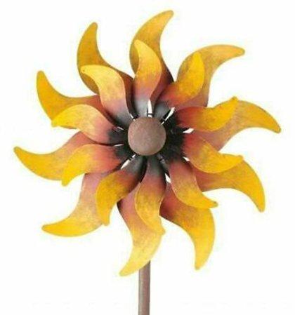 Windrad Art Ferro Sonne Metall Windspiel Gartenstecker H 160 cm  D 33 cm