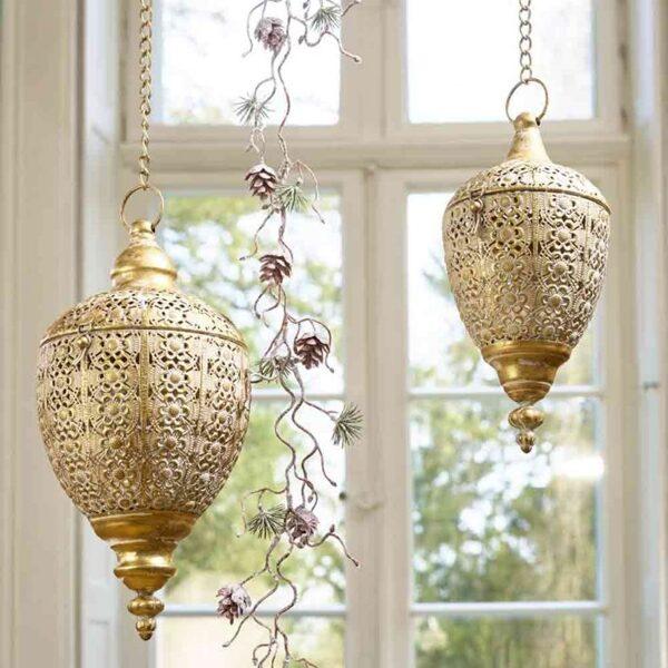 Hängewindlicht klein aus Metall, creme/gold Hänge-Laterne Garten Windlicht