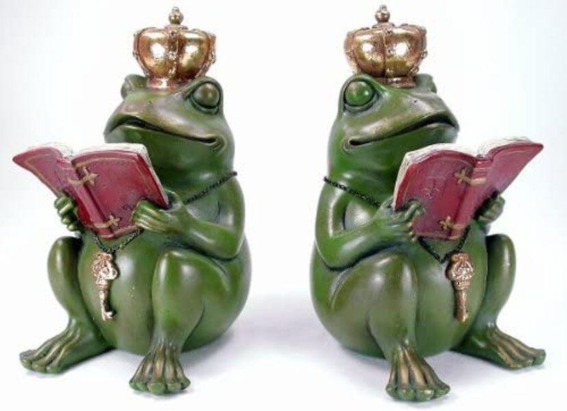 1 Paar Buchstützen lesender Froschkönig Frosch König Buch Figur Vintage Frösche