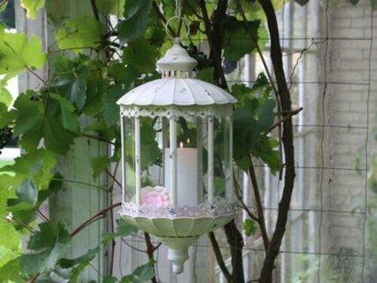 Chic Antique Laterne Hänge Windlicht m. Kette & Spitzendekor Metall Garten Deko