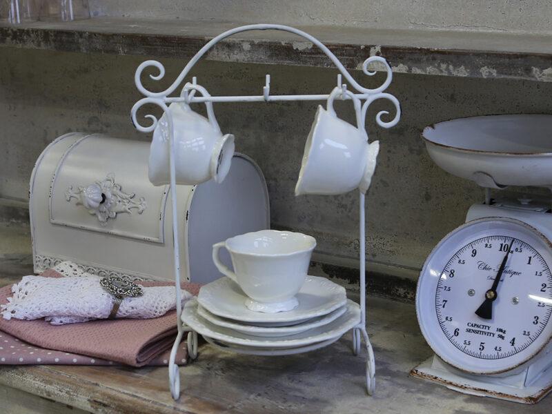 Chic Antique Ständer für Tassen und Teller antik weiß Geschirrständer Vintage